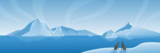 Scena naturale di vita marina dei cartoni animati di ampio paesaggio antartico artico con iceberg e pinguini
