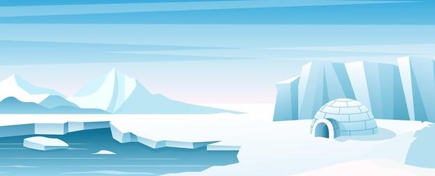 Paesaggio artico con illustrazione ghiacciaia capanna rifugio costruito di neve edificio eschimese