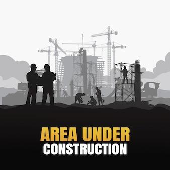 Area in costruzione sullo sfondo