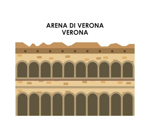Icona di arena di verona. design della cultura italiana. grafica vettoriale
