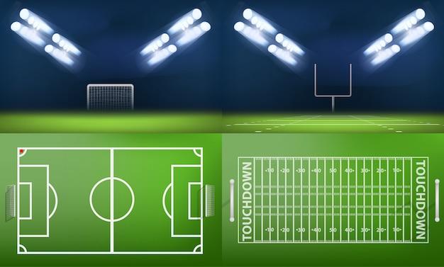 Insieme di concetto dell'insegna di scena dello sport dello stadio dell'arena