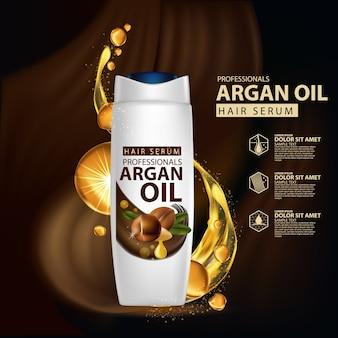 Modello di progettazione di packaging per shampoo per la cura dei capelli con olio di argan