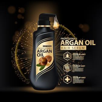 Modello di progettazione dell'imballaggio dello shampoo per la cura dei capelli all'olio di argan