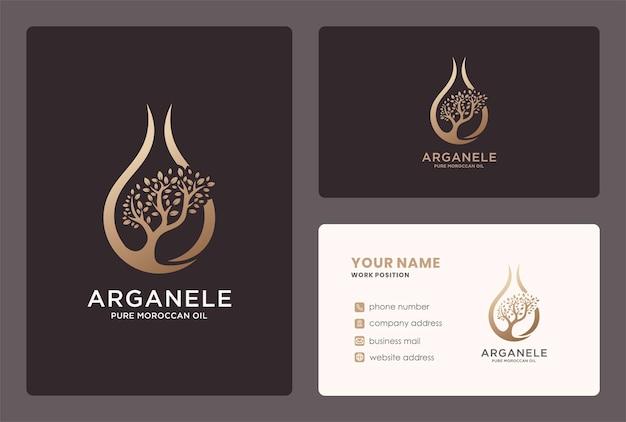 Logo del logo dell'olio di argan e design del biglietto da visita.