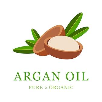 Cosmetico per la cura della pelle all'olio di argan. semi di argan, per la produzione di olio.