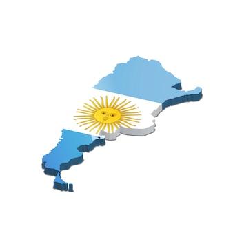 Siluetta del paese dell'argentina con la bandiera su bianco