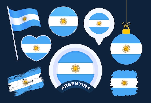 Accumulazione di vettore della bandiera dell'argentina. grande set di elementi di design della bandiera nazionale in diverse forme per le festività pubbliche e nazionali in stile piatto.