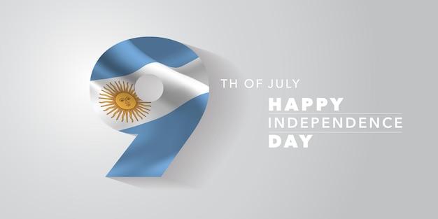 Cartolina d'auguri di felice giorno dell'indipendenza dell'argentina, banner, illustrazione vettoriale. giornata nazionale argentina 9 luglio sfondo con elementi di bandiera Vettore Premium