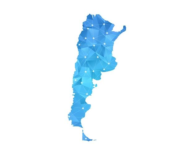 Linea mappa argentina punti geometrici astratti poligonali.