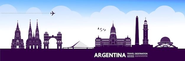 Illustrazione vettoriale di destinazione di viaggio argentina.