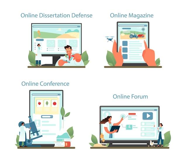 Servizio online argonomist o set di piattaforme. illustrazione vettoriale