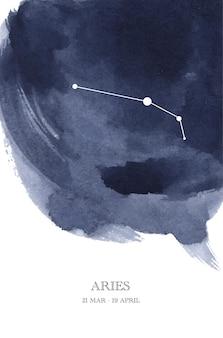 Illustrazione dell'acquerello di astrologia della costellazione dell'ariete. simbolo dell'oroscopo ariete fatto di scintillii e linee di stelle.