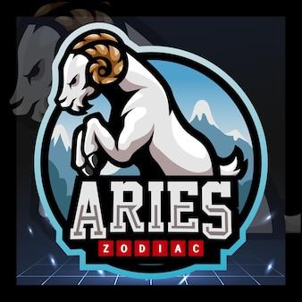 Design del logo esport della mascotte dello zodiaco dell'ariete