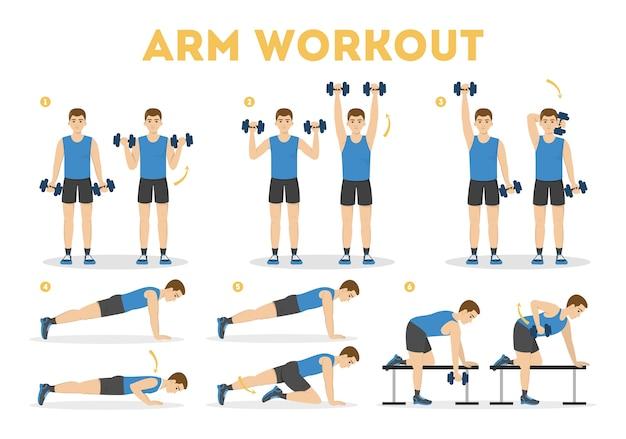 Allenamento del braccio per l'uomo. esercizio per braccia forti Vettore Premium