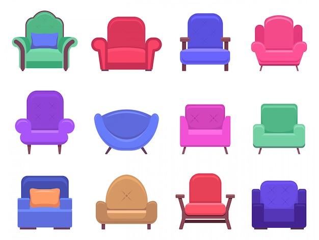 Mobili per poltrone. sofà della poltrona, mobilia comoda interna dell'appartamento, icone moderne accoglienti moderne dell'illustrazione della sedia messe. sedia con seduta morbida, mobili da salotto, poltrona alla moda