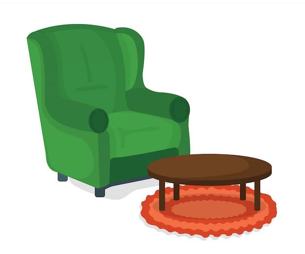Concetto dell'icona della tabella e della poltrona. mobili su sfondo bianco. sedia simbolo, icona e badge. illustrazione di cartone animato