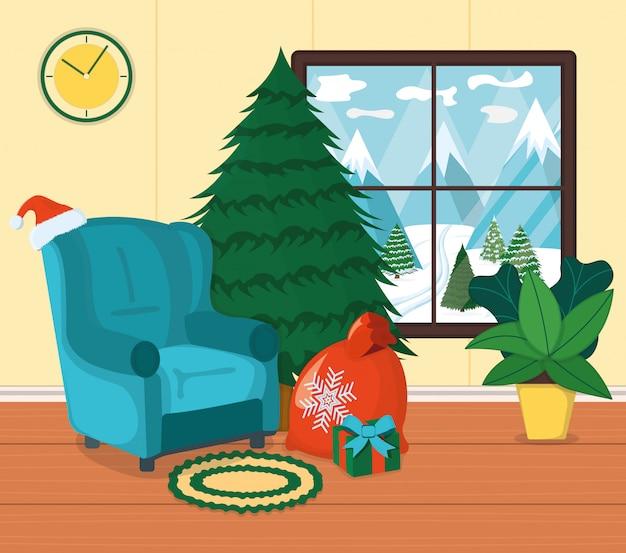 Poltrona con tappeto, posto per sedersi e relax illustrazione fumetto. interni di design. abete di capodanno, atmosfera natalizia con scatola regalo.