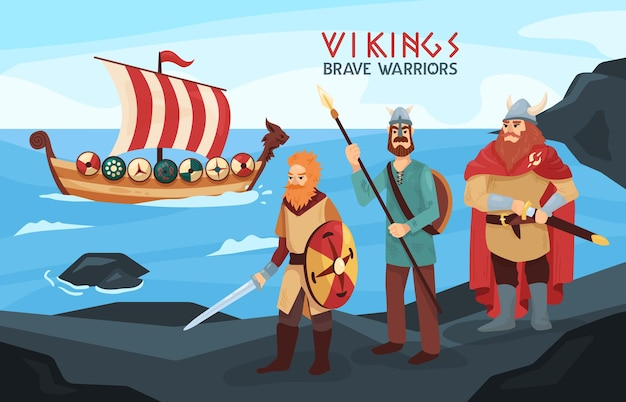 Vichinghi armati coraggiosi guerrieri marinai su rocce nere in riva al mare con longship pronta per raid