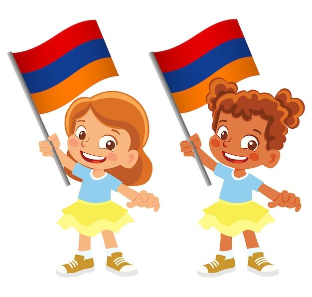 Bandiera dell'armenia in mano insieme