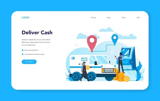 Banner web o pagina di destinazione per la sicurezza del camion blindato. i soldi
