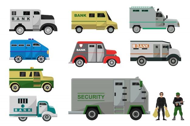 Insieme del trasporto dell'armatura dell'illustrazione dell'automobile del trasporto di contanti del furgone della banca del veicolo corazzato del camion con l'uomo del carattere della gente di sicurezza dei soldi nell'insieme isolato a prova di proiettile dell'icona
