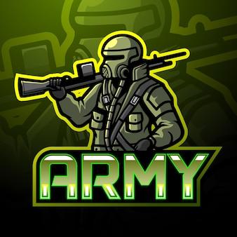 Disegno della mascotte del logo esport dell'esercito