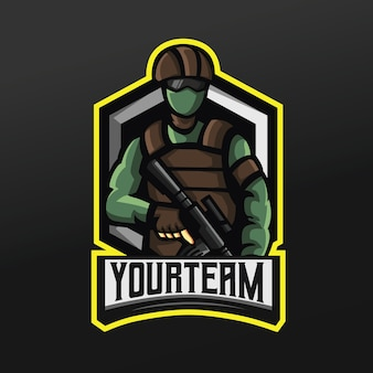 Army green soldier con pistola e maschera mascot sport illustrazione per logo esport gaming team squad