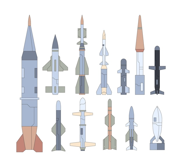Set piatto di armi volanti guidate dall'esercito. collezione di missili nucleari. mirare a testate, razzi atomici. pacchetto munizioni da guerra.
