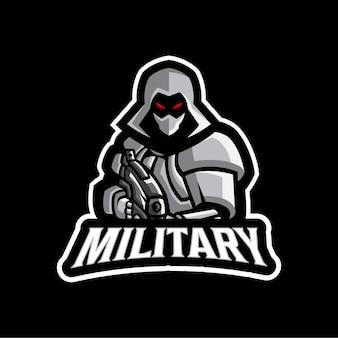 Modello di logo della mascotte moderna militare dell'esercito