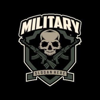 Logo impressionante del teschio dell'esercito. illustrazione di design distintivo mascotte militare