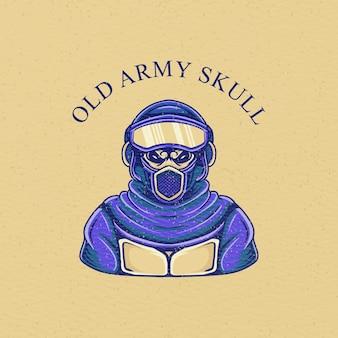 Illustrazione retrò del cranio dell'esercito per il design della maglietta