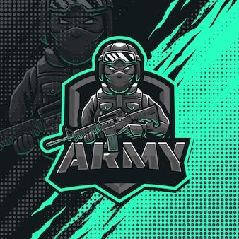 Illustrazione di progettazione di logo della mascotte del soldato dell'esercito