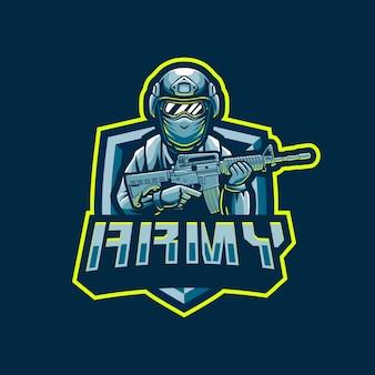 Disegno di marchio della mascotte del soldato dell'esercito