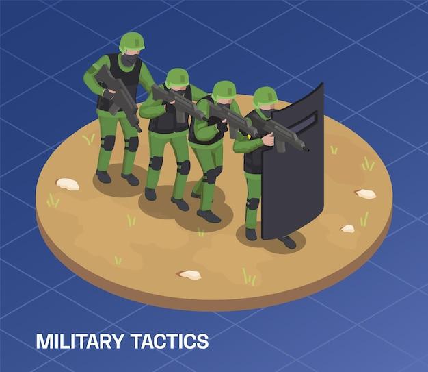 Illustrazione isometrica del soldato delle armi dell'esercito con testo e gruppo di forze speciali che si muovono in avanti in linea