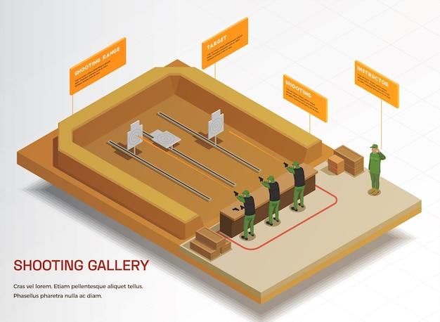 Infografica isometrica del soldato delle armi dell'esercito con vista della galleria del poligono di tiro e soldati che praticano tiri morti