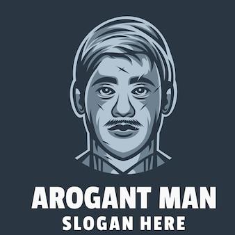Vettore di design del logo dell'uomo arogante