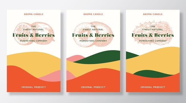 Set di modelli di etichette vettoriali per candele aromatiche set di modelli di frutta esotica profumo fornitori locali annuncio disegno schizzo bac...