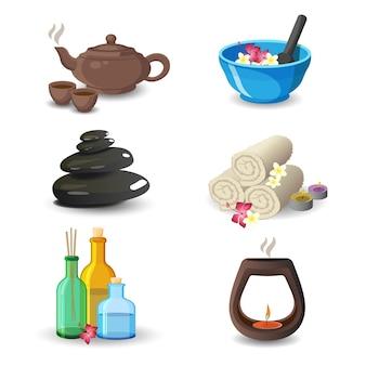 Collezione di elementi spa di aromaterapia e relax. illustrazione di bollitore marrone e tazze, ciotola blu, asciugamani bianchi arrotolati con fiori, bottiglie e candele decorative e pietre mediche nere.