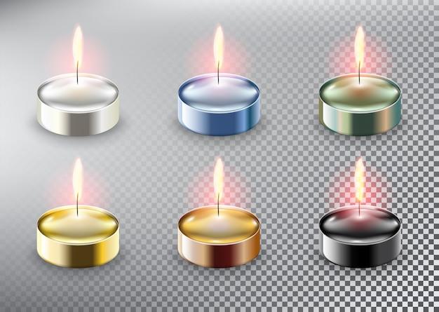 Candele tealight aromatiche. isolato sullo sfondo bianco.