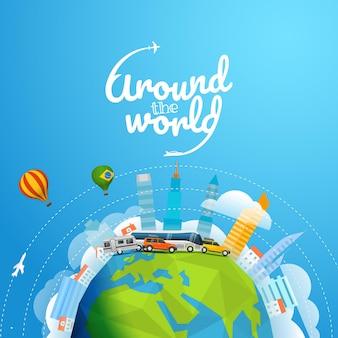 Giro del mondo con un veicolo diverso. illustrazione vettoriale di concetto di viaggio con logo