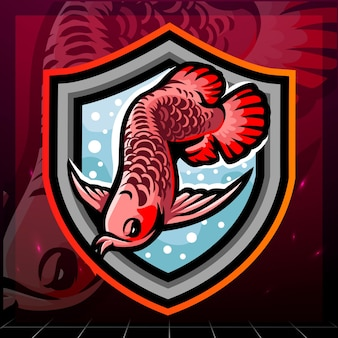 Arowana pesce mascotte esport logo design