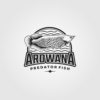 Logo vintage di pesce arowana