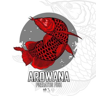 Illustrazione di pesce predatore arowana