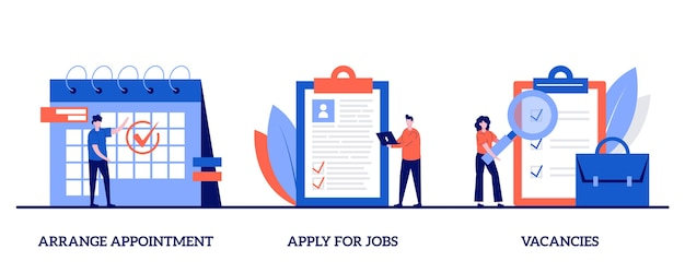 Fissare un appuntamento, candidarsi per lavori, concetto di posti vacanti con carattere