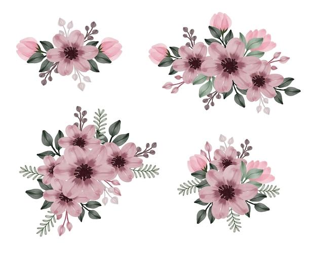 Composizione floreale acquerello di rosa polveroso