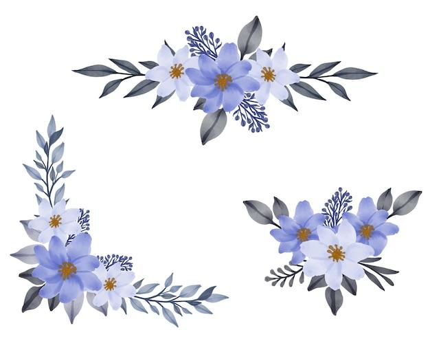 Composizione floreale acquerello cornice di bianco e viola