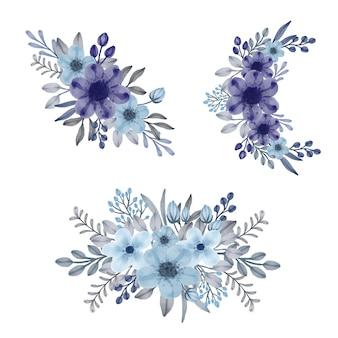 Disposizione floreale acquerello di fiori viola e blu