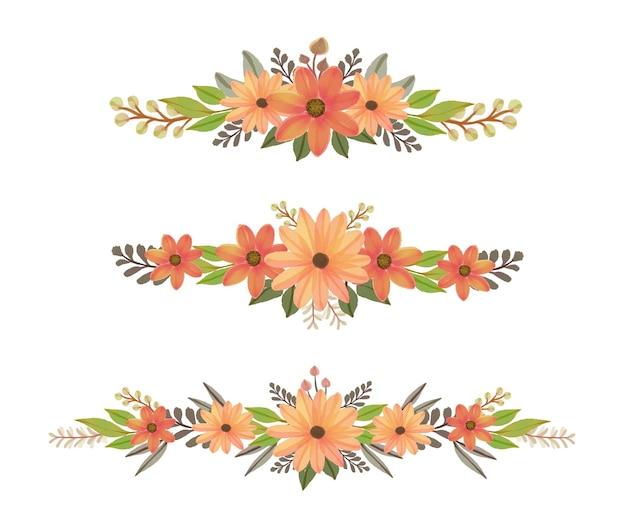 Composizione di fiori arancioni ad acquerello
