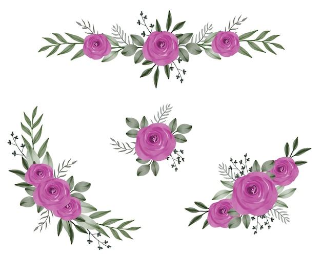 Composizione di rose rosa acquerello per auguri e invito a nozze