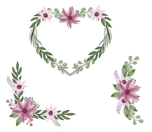 Disposizione della cornice rosa dell'acquerello per l'invito al matrimonio